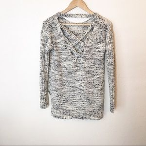 Black and white knit cross back hi low sweater